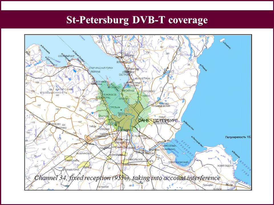 Vladivostok Nizhni Novgorod Kaliningrad More than 21 million people can actually receive DVB-T programs Moscow1000 Vt, 500 VtCommercial, trial St-Petersburg1000 VtCommercial Nizhni Novgorod1000 VtTrial Vladivostok1000 VtTrial