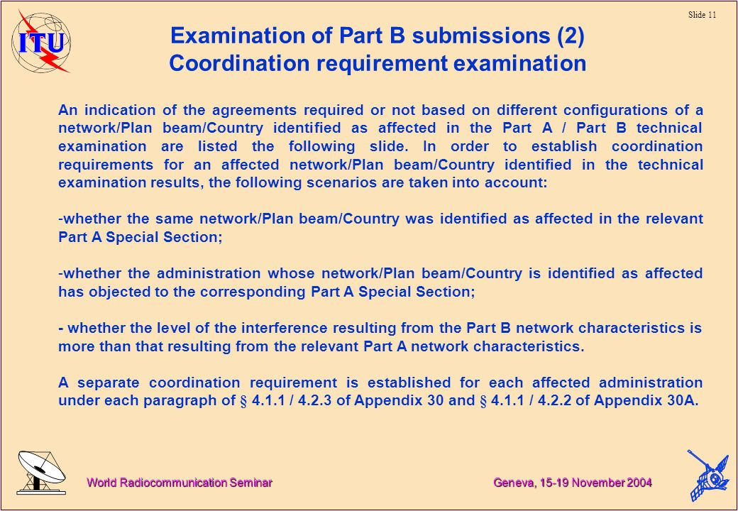 Slide 11 World Radiocommunication Seminar Geneva, November 2004 Examination of Part B submissions (2) Coordination requirement examination An indication of the agreements required or not based on different configurations of a network/Plan beam/Country identified as affected in the Part A / Part B technical examination are listed the following slide.