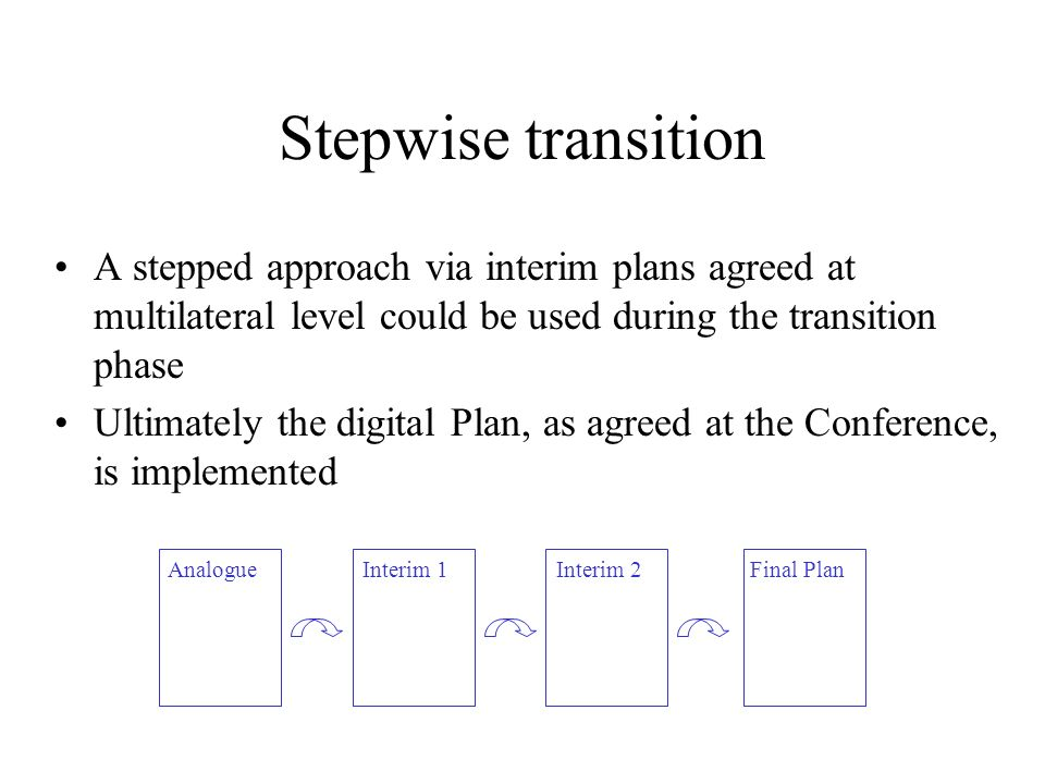 Stepwise transition A stepped approach via interim plans agreed at multilateral level could be used during the transition phase Ultimately the digital Plan, as agreed at the Conference, is implemented Interim 2Final PlanInterim 1Analogue