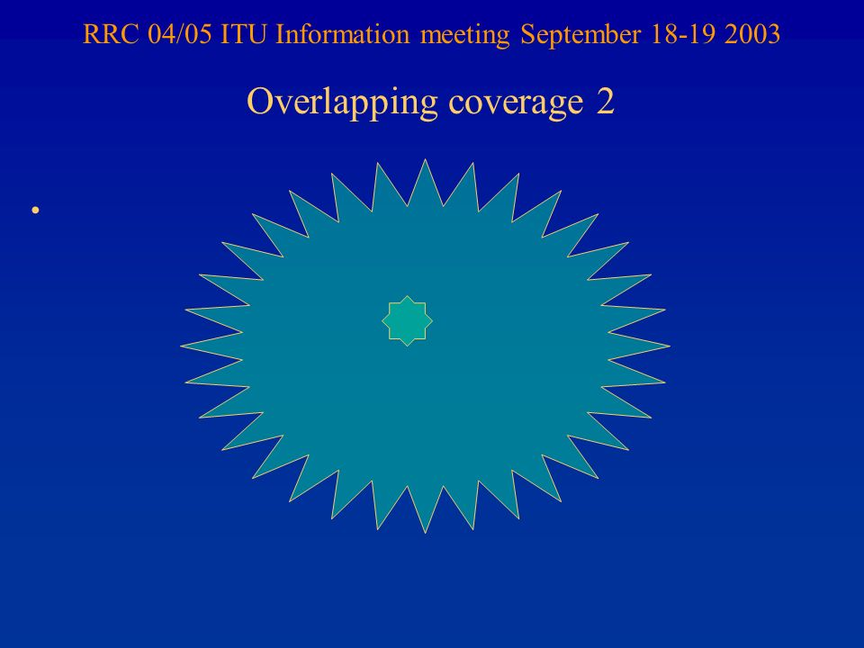 RRC 04/05 ITU Information meeting September 18-19 2003 Overlapping coverage 2