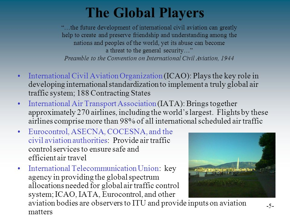 The Global Players International Civil Aviation Organization (ICAO): Plays the key role in developing international standardization to implement a truly global air traffic system; 188 Contracting States International Air Transport Association (IATA): Brings together approximately 270 airlines, including the worlds largest.
