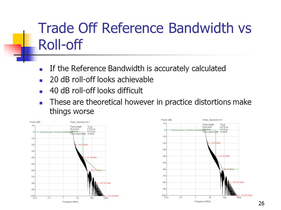 26 Trade Off Reference Bandwidth vs Roll-off If the Reference Bandwidth is accurately calculated 20 dB roll-off looks achievable 40 dB roll-off looks difficult These are theoretical however in practice distortions make things worse