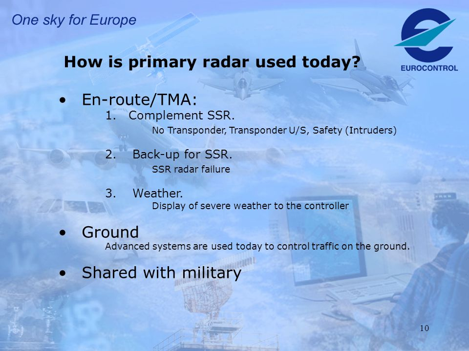 10 How is primary radar used today. En-route/TMA: 1.Complement SSR.