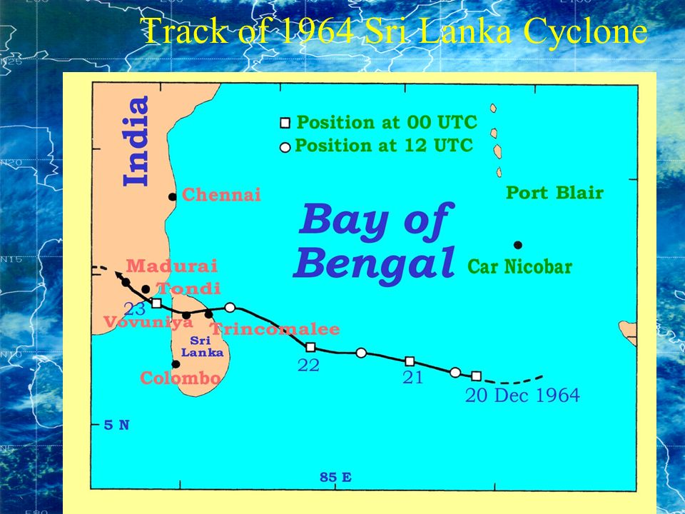 Track of 1964 Sri Lanka Cyclone