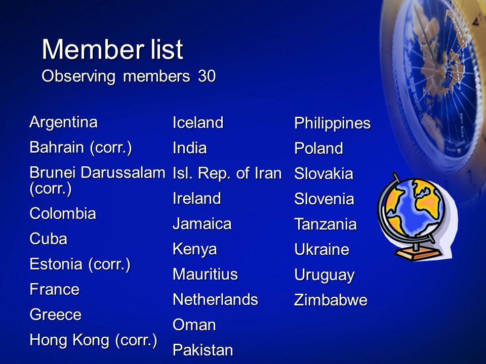 Member list Observing members 30 Argentina Bahrain (corr.) Brunei Darussalam (corr.) ColombiaCuba Estonia (corr.) FranceGreece Hong Kong (corr.) Icela