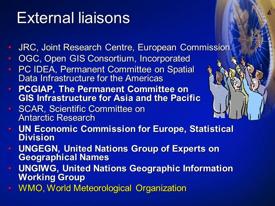 External liaisons JRC, Joint Research Centre, European CommissionJRC, Joint Research Centre, European Commission OGC, Open GIS Consortium, Incorporate
