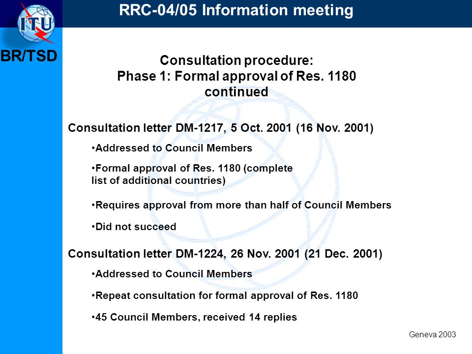 BR/TSD Geneva 2003 Consultation procedure: Phase 1: Formal approval of Res.
