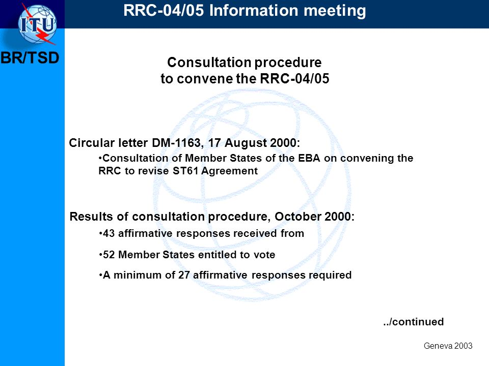 BR/TSD Geneva 2003 Consultation procedure to convene the RRC-04/05 RRC-04/05 Information meeting Circular letter DM-1163, 17 August 2000: Consultation of Member States of the EBA on convening the RRC to revise ST61 Agreement Results of consultation procedure, October 2000: 43 affirmative responses received from 52 Member States entitled to vote A minimum of 27 affirmative responses required../continued