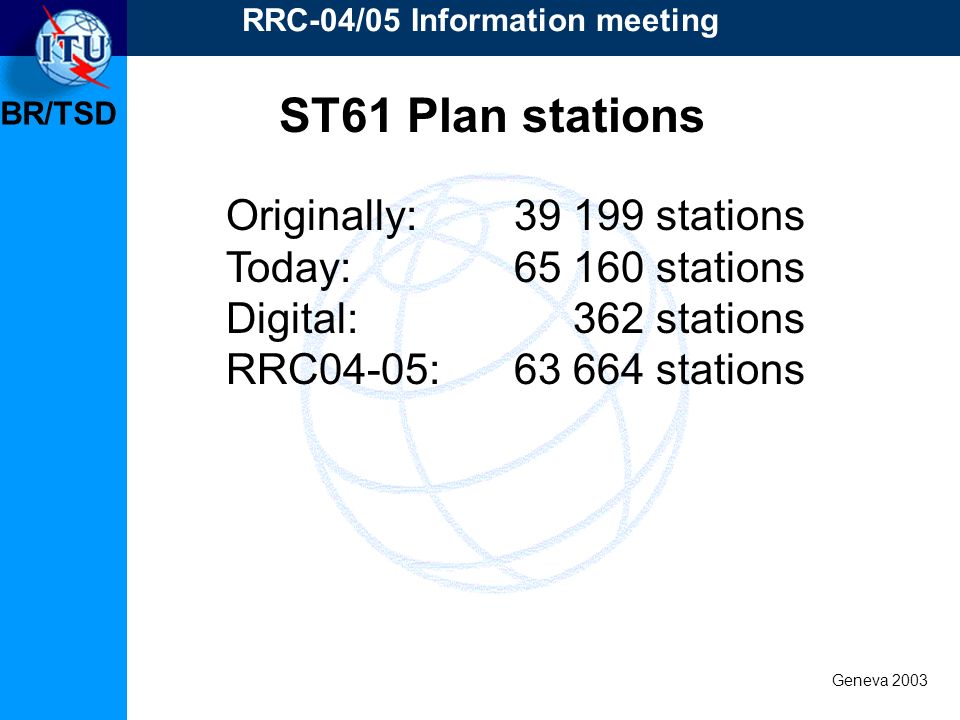 BR/TSD Geneva 2003 RRC-04/05 Information meeting Originally: 39 199 stations Today:65 160 stations Digital: 362 stations RRC04-05:63 664 stations ST61