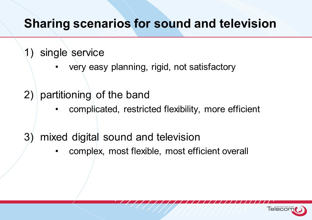 Sharing scenarios for sound and television 1)single service very easy planning, rigid, not satisfactory 2)partitioning of the band complicated, restri