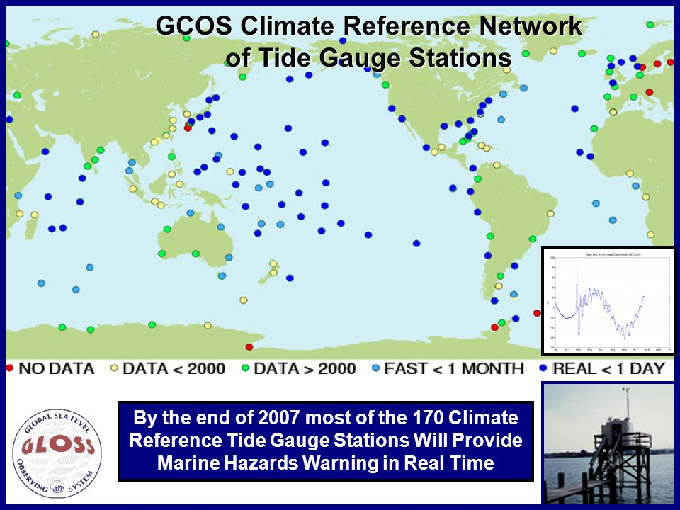 By the end of 2007 most of the 170 Climate Reference Tide Gauge Stations Will Provide Marine Hazards Warning in Real Time GCOS Climate Reference Network of Tide Gauge Stations