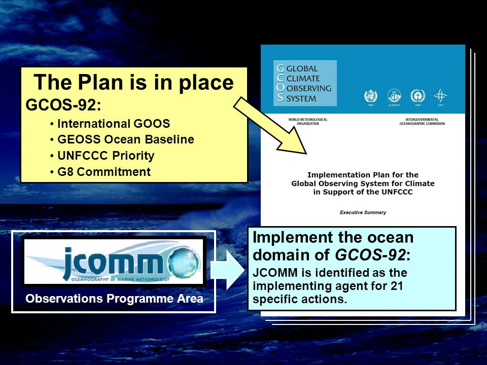 Observations Programme Area Implement the ocean domain of GCOS-92: JCOMM is identified as the implementing agent for 21 specific actions.
