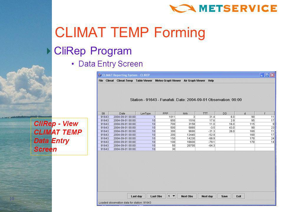 10 CLIMAT TEMP Forming CliRep Program Data Entry Screen CliRep - View CLIMAT TEMP Data Entry Screen