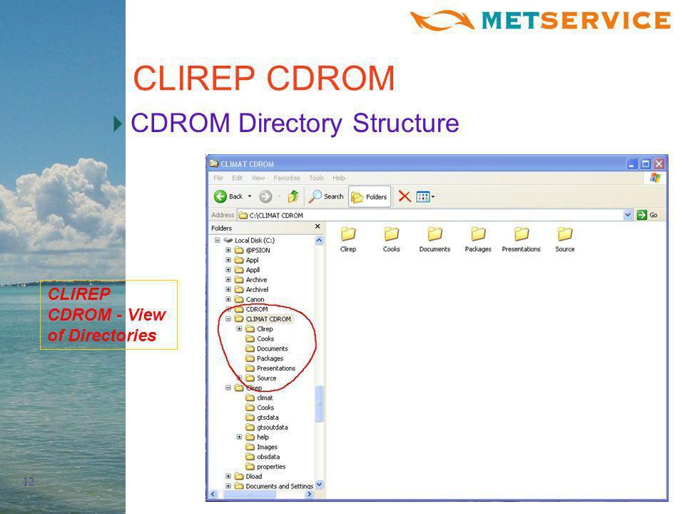 12 CLIREP CDROM CDROM Directory Structure CLIREP CDROM - View of Directories