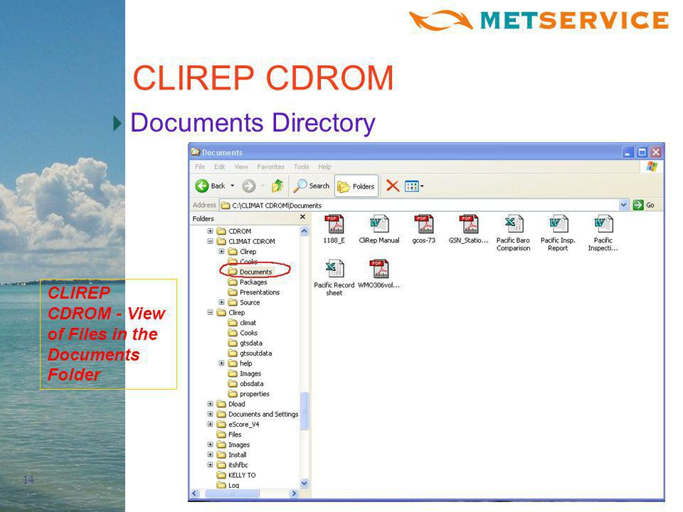 14 CLIREP CDROM Documents Directory CLIREP CDROM - View of Files in the Documents Folder