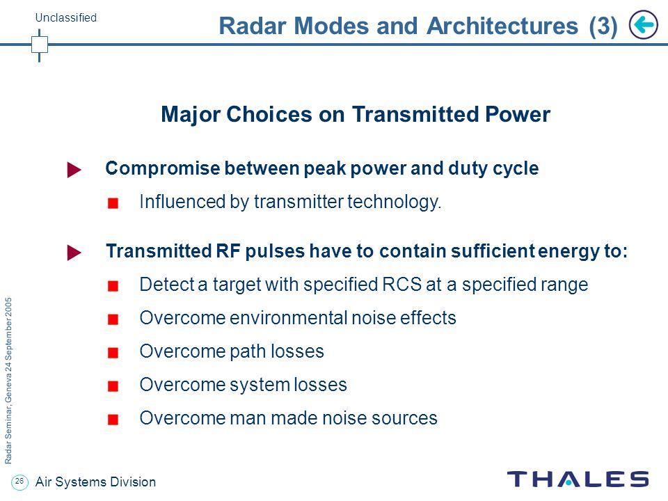 25 Radar Seminar, Geneva 24 September 2005 Unclassified Air Systems Division Radar Modes and Architectures (2) Non classical FM-CW waveforms Passive r