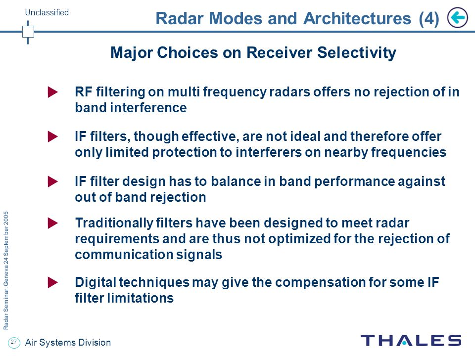 26 Radar Seminar, Geneva 24 September 2005 Unclassified Air Systems Division Radar Modes and Architectures (3) Compromise between peak power and duty