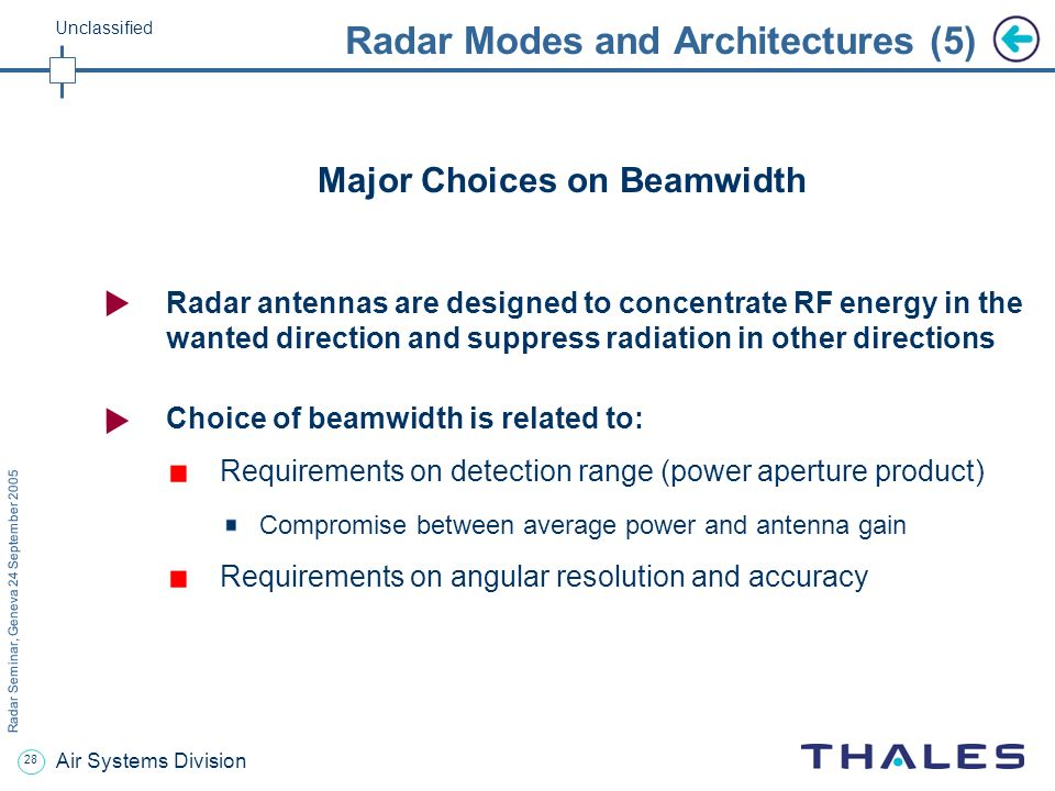 27 Radar Seminar, Geneva 24 September 2005 Unclassified Air Systems Division Radar Modes and Architectures (4) RF filtering on multi frequency radars