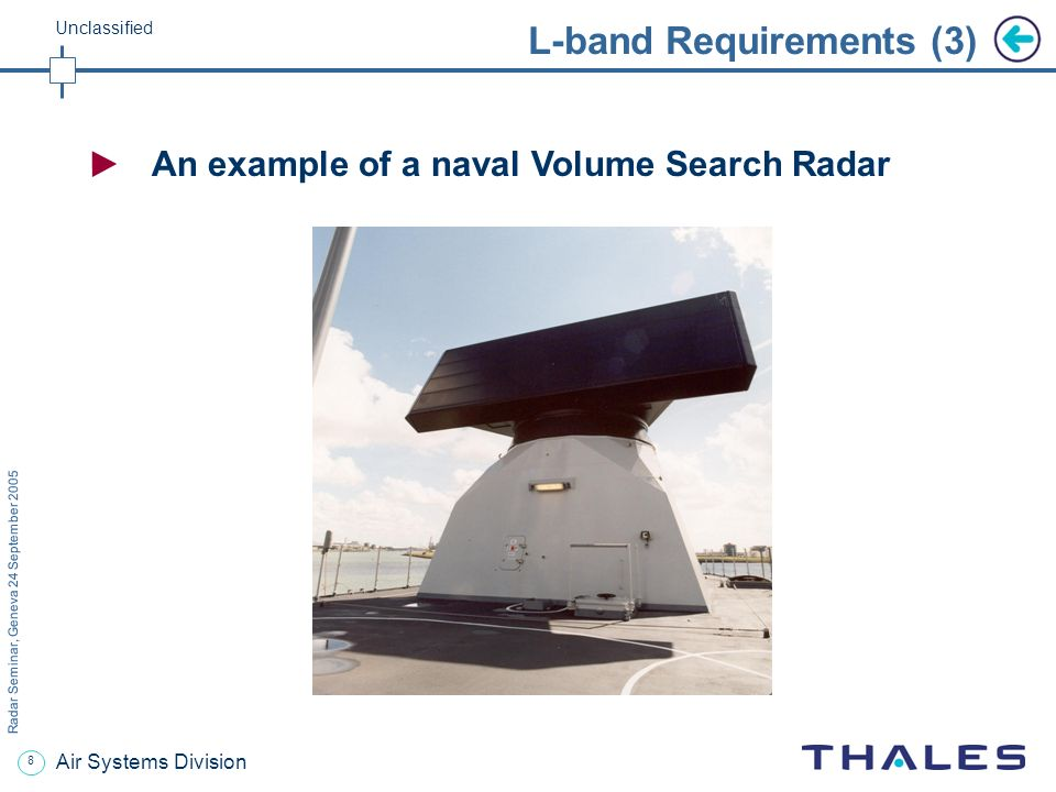 7 Radar Seminar, Geneva 24 September 2005 Unclassified Air Systems Division L-band Requirements (2) Mission: Volume Search by means of Multibeam Surve