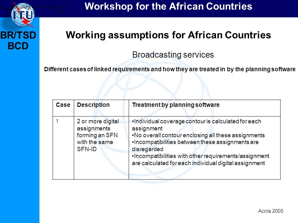 BR/TSD Accra 2005 BCD Workshop for the African Countries Working assumptions for African Countries Broadcasting services Different cases of linked req