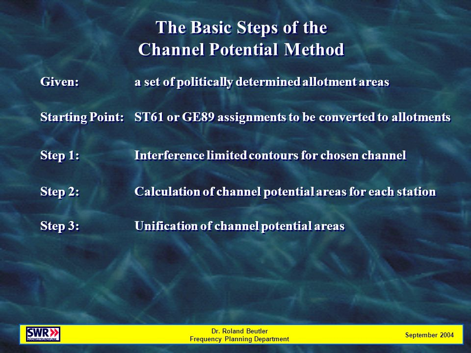 Dr. Roland Beutler Frequency Planning Department September 2004 The Basic Steps of the Channel Potential Method The Basic Steps of the Channel Potenti