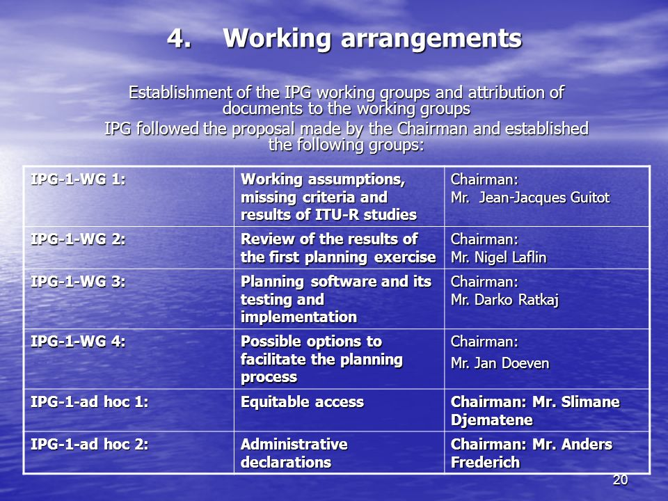 20 4.Working arrangements Establishment of the IPG working groups and attribution of documents to the working groups IPG followed the proposal made by the Chairman and established the following groups: IPG 1-WG 1: Working assumptions, missing criteria and results of ITU R studies Chairman: Mr.