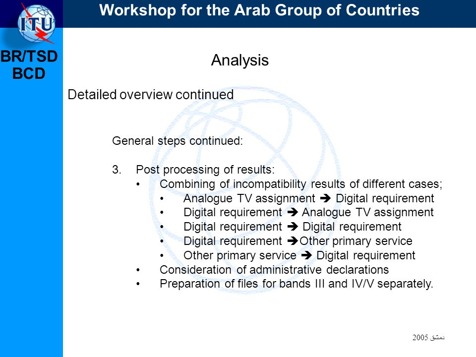 BR/TSD دمشق 2005 BCD Analysis Detailed overview continued General steps continued: 3.Post processing of results: Combining of incompatibility results of different cases; Analogue TV assignment Digital requirement Digital requirement Analogue TV assignment Digital requirement Digital requirement Other primary service Other primary service Digital requirement Consideration of administrative declarations Preparation of files for bands III and IV/V separately.