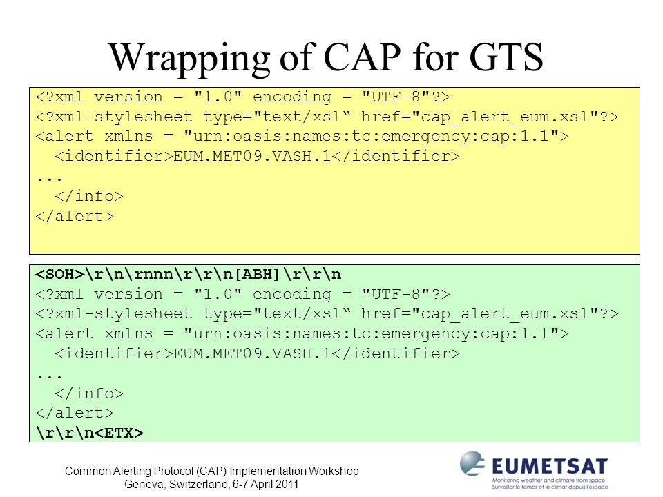 Common Alerting Protocol (CAP) Implementation Workshop Geneva, Switzerland, 6-7 April 2011 Wrapping of CAP for GTS EUM.MET09.VASH.1... \r\n\rnnn\r\r\n