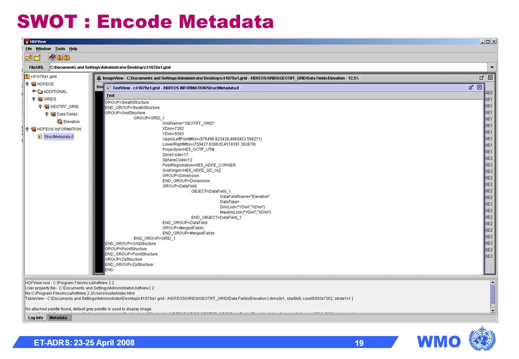WMO ET-ADRS: 23-25 April 2008 19 SWOT : Encode Metadata