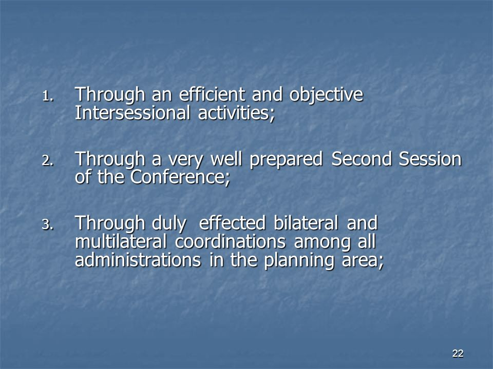 22 1. Through an efficient and objective Intersessional activities; 2.