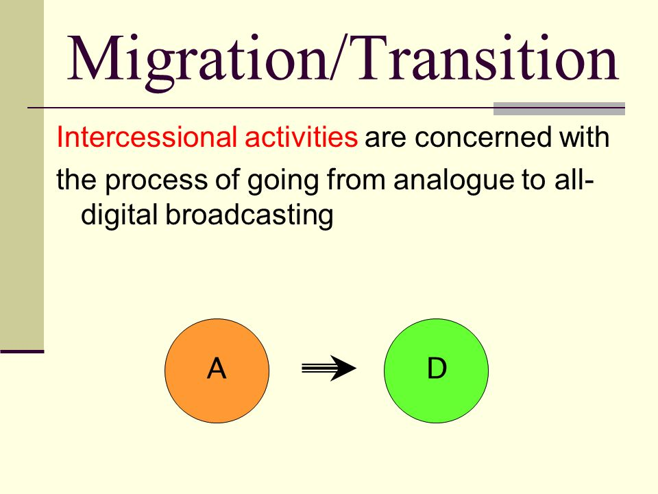 Migration/Transition Intercessional activities are concerned with the process of going from analogue to all- digital broadcasting AD