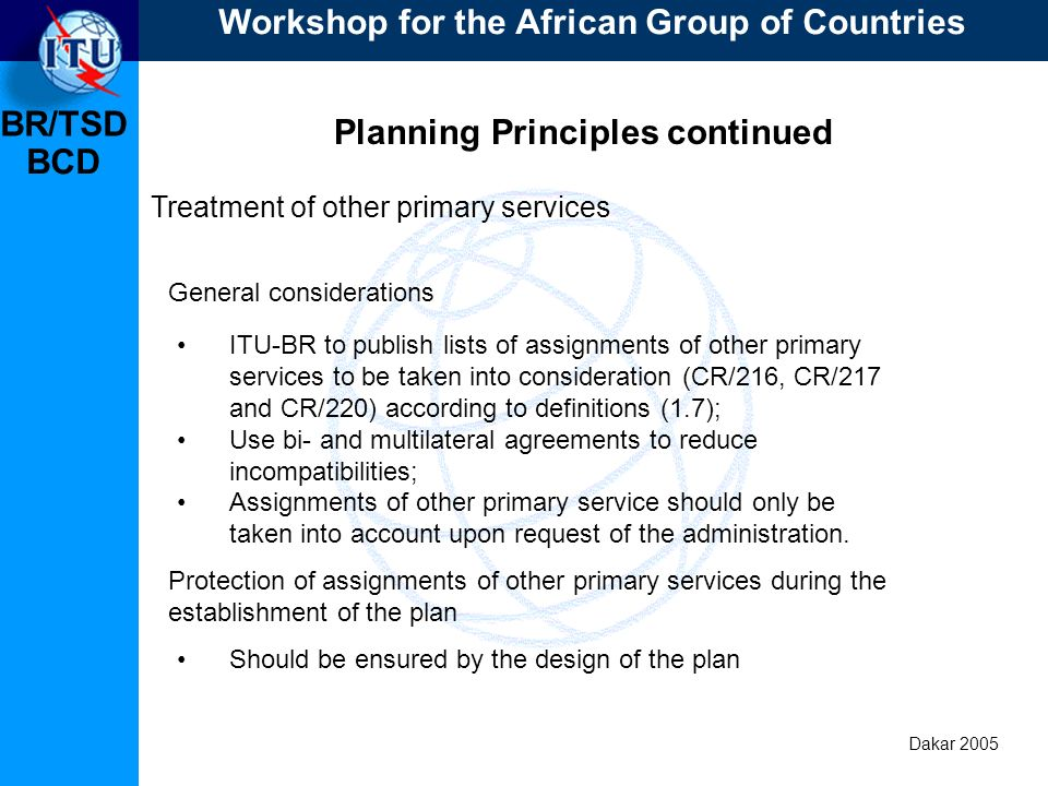 BR/TSD Dakar 2005 BCD Planning Principles continued Treatment of other primary services ITU-BR to publish lists of assignments of other primary servic
