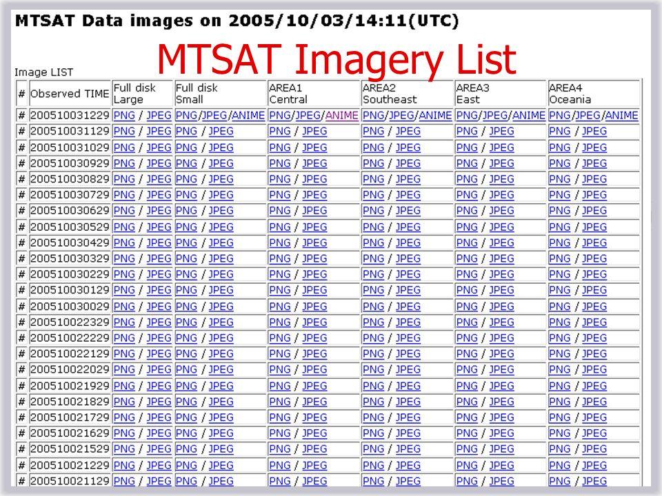 MTSAT Imagery List