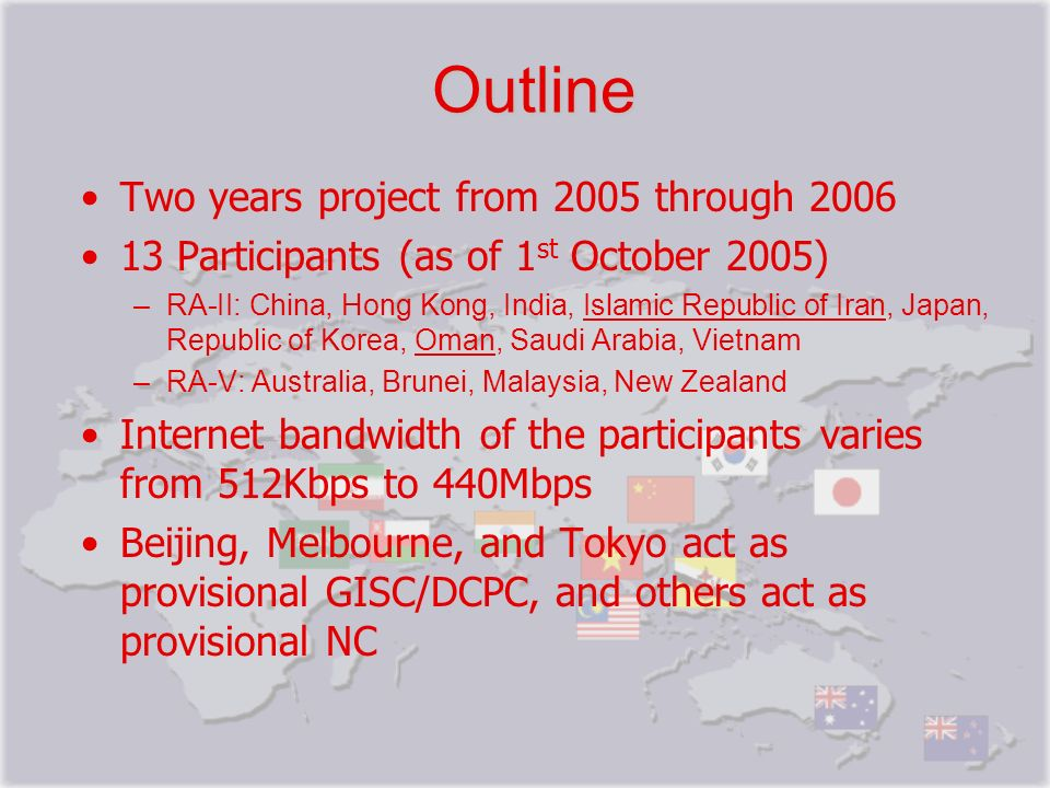 Outline Two years project from 2005 through 2006 13 Participants (as of 1 st October 2005) –RA-II: China, Hong Kong, India, Islamic Republic of Iran,