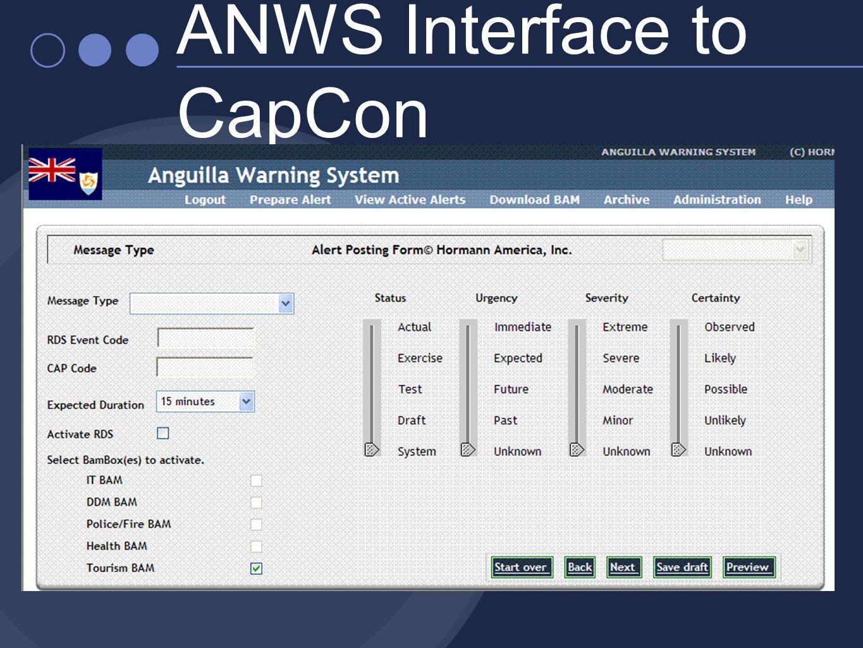 ANWS Interface to CapCon