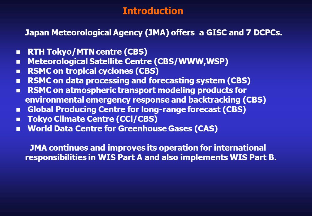 WIS Part A : Improvement of GTS RTH Tokyo acts as a node between the RAII Regional Meteorological Telecommunication Network (RMTN) and the Main Telecommunication Network (MTN).