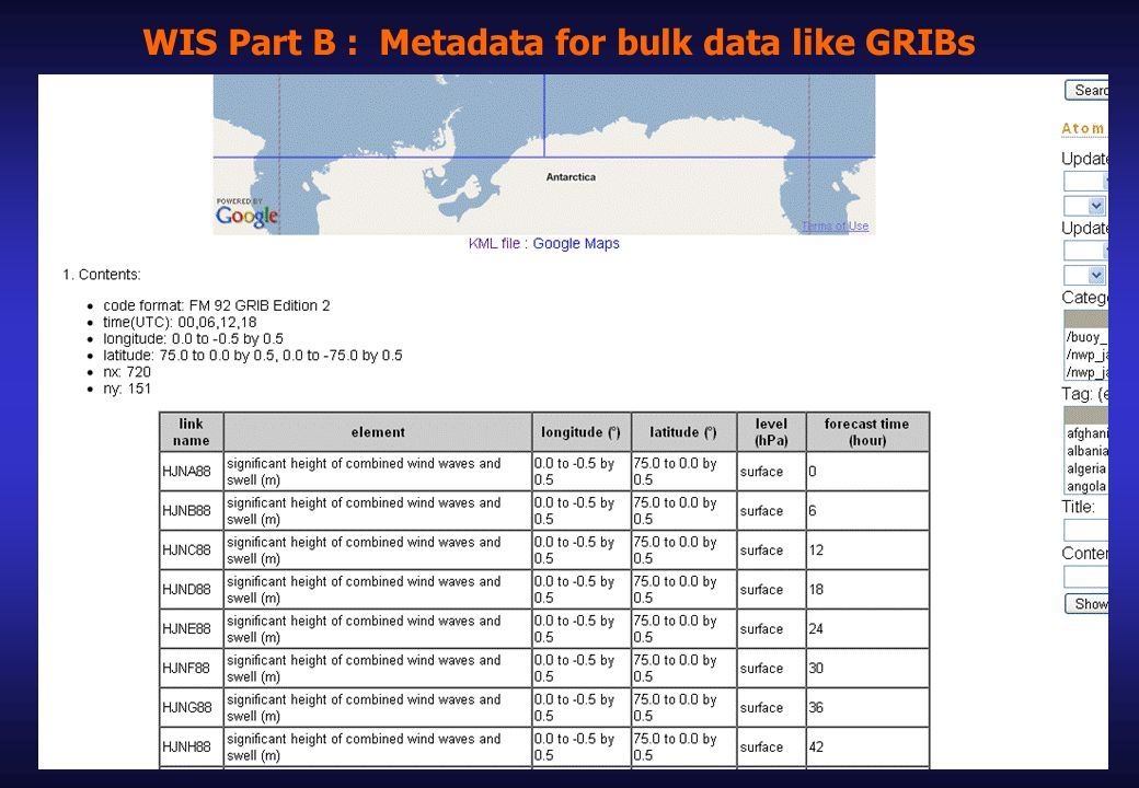 WIS Part B : Metadata for bulk data like GRIBs