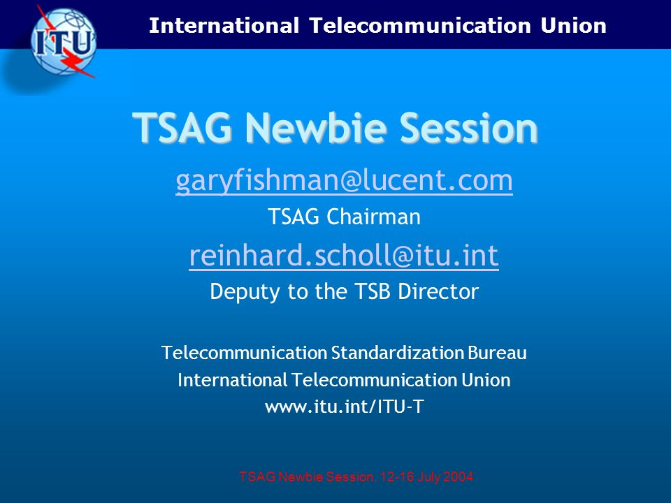 International Telecommunication Union TSAG Newbie Session, 12-16 July 2004 TSAG Newbie Session garyfishman@lucent.com TSAG Chairman reinhard.scholl@it