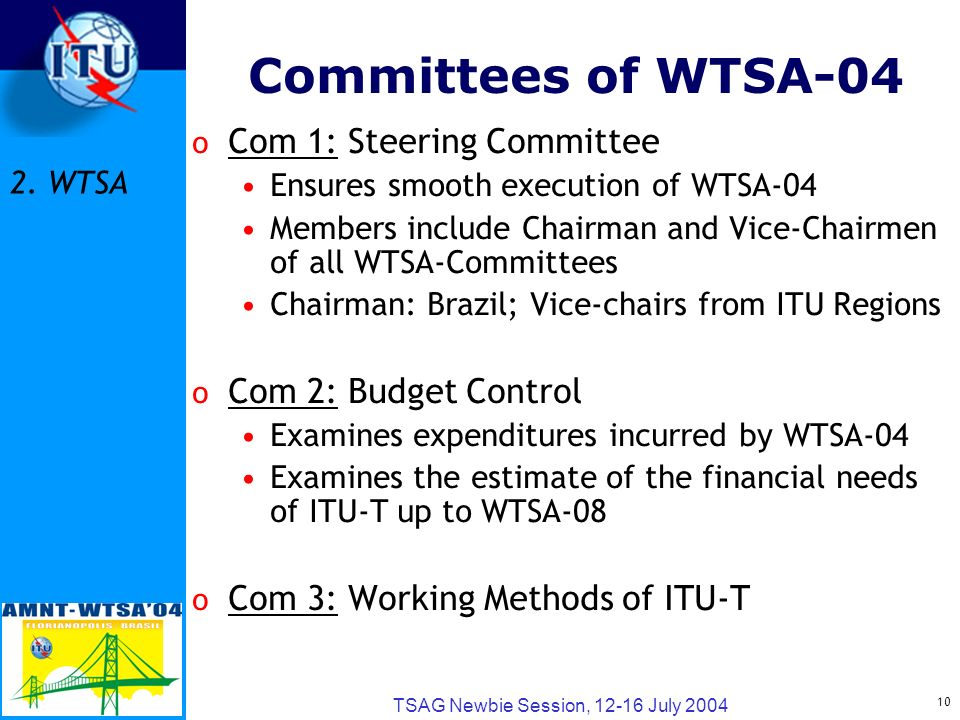 10 TSAG Newbie Session, 12-16 July 2004 Committees of WTSA-04 o Com 1: Steering Committee Ensures smooth execution of WTSA-04 Members include Chairman and Vice-Chairmen of all WTSA-Committees Chairman: Brazil; Vice-chairs from ITU Regions o Com 2: Budget Control Examines expenditures incurred by WTSA-04 Examines the estimate of the financial needs of ITU-T up to WTSA-08 o Com 3: Working Methods of ITU-T 2.
