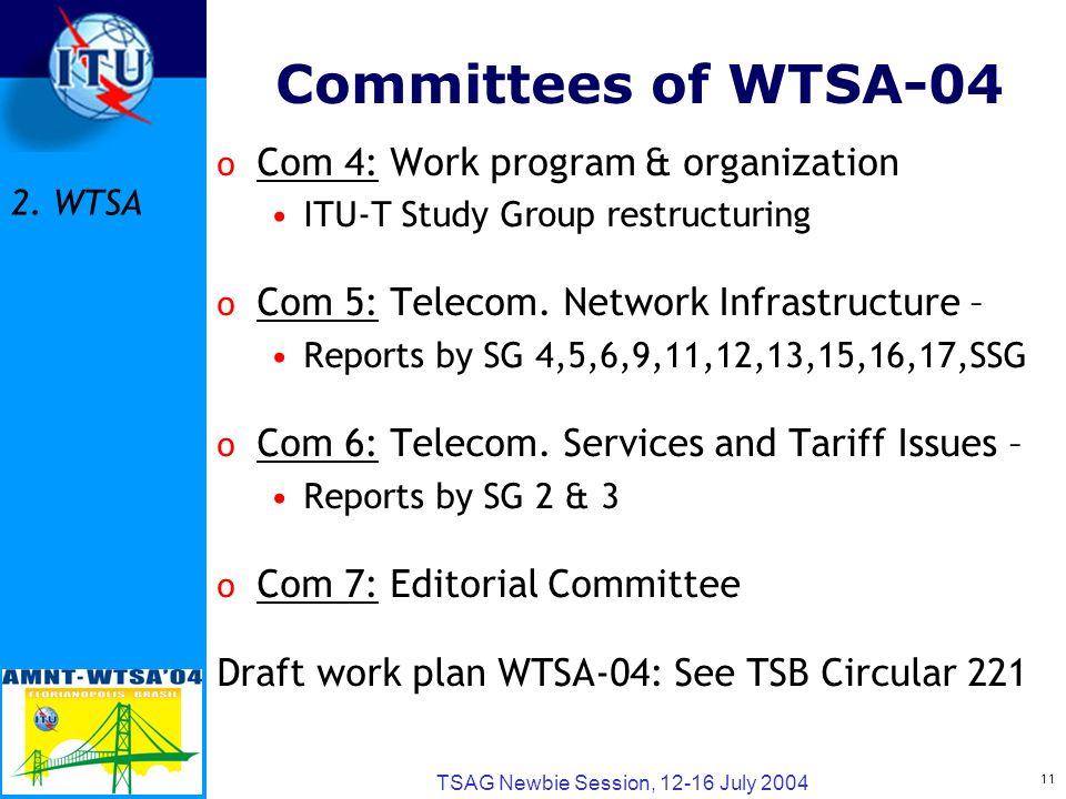 11 TSAG Newbie Session, 12-16 July 2004 Committees of WTSA-04 o Com 4: Work program & organization ITU-T Study Group restructuring o Com 5: Telecom. N