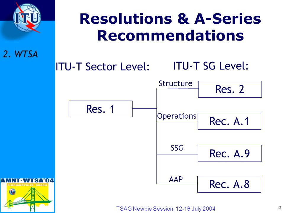 12 TSAG Newbie Session, 12-16 July 2004 Resolutions & A-Series Recommendations Res.