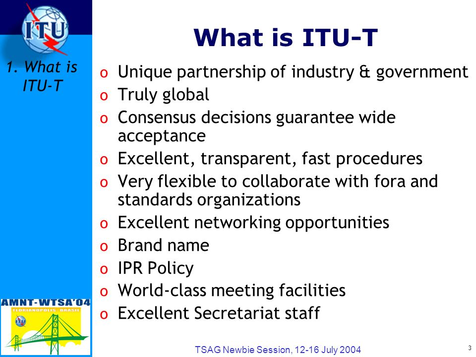 3 TSAG Newbie Session, 12-16 July 2004 What is ITU-T o Unique partnership of industry & government o Truly global o Consensus decisions guarantee wide acceptance o Excellent, transparent, fast procedures o Very flexible to collaborate with fora and standards organizations o Excellent networking opportunities o Brand name o IPR Policy o World-class meeting facilities o Excellent Secretariat staff 1.