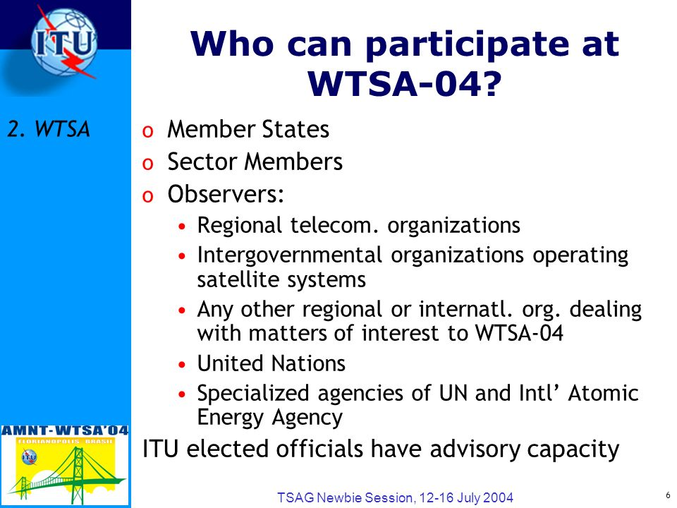 6 TSAG Newbie Session, 12-16 July 2004 Who can participate at WTSA-04.