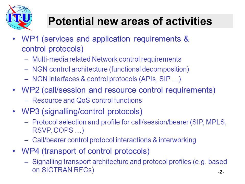 -2- Potential new areas of activities WP1 (services and application requirements & control protocols) –Multi-media related Network control requirement