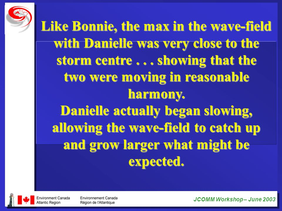 JCOMM Workshop – June 2003 Like Bonnie, the max in the wave-field with Danielle was very close to the storm centre... showing that the two were moving