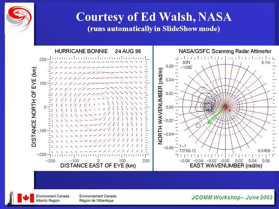 JCOMM Workshop – June 2003 Courtesy of Ed Walsh, NASA (runs automatically in SlideShow mode)