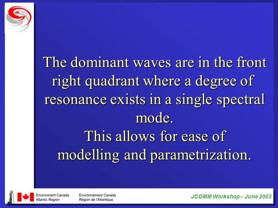 JCOMM Workshop – June 2003 The dominant waves are in the front right quadrant where a degree of resonance exists in a single spectral mode. This allow