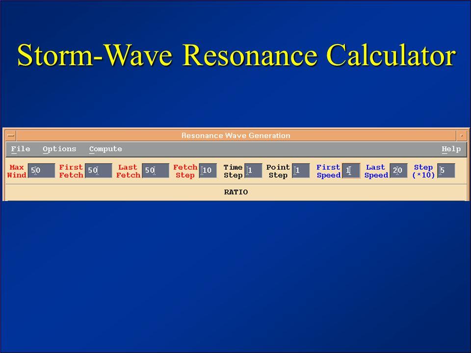 JCOMM Workshop – June 2003 Storm-Wave Resonance Calculator