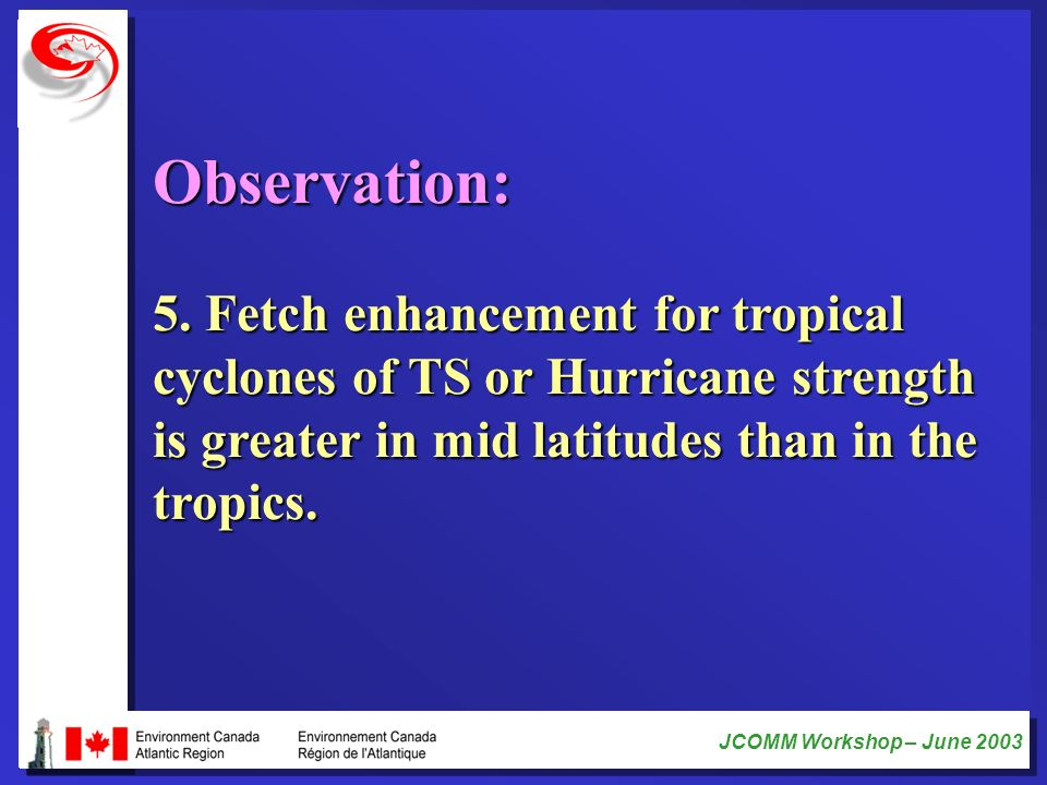 JCOMM Workshop – June 2003 Observation: 5. Fetch enhancement for tropical cyclones of TS or Hurricane strength is greater in mid latitudes than in the