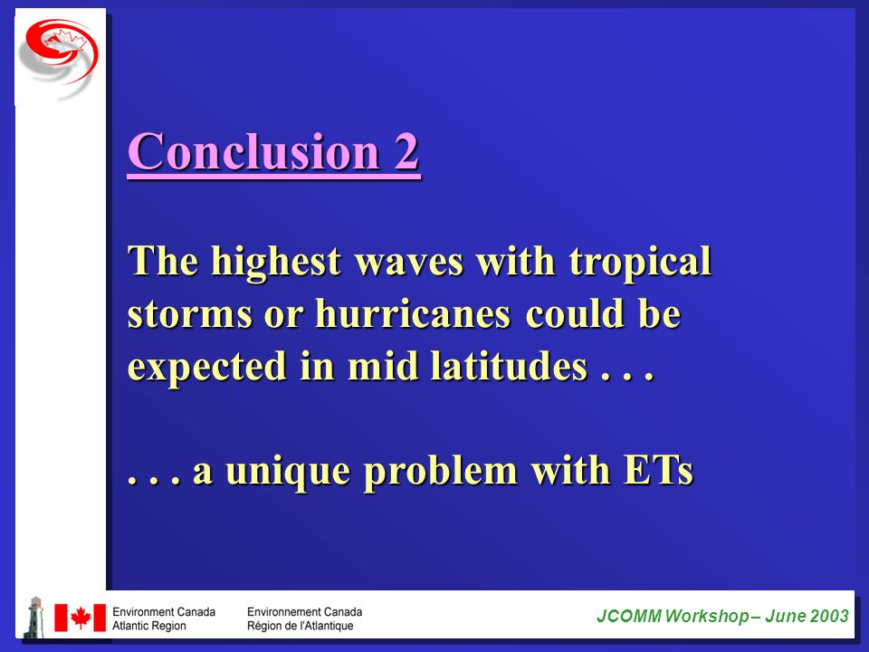 JCOMM Workshop – June 2003 Conclusion 2 The highest waves with tropical storms or hurricanes could be expected in mid latitudes...... a unique problem